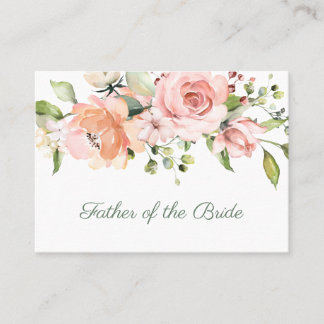 Elegant pink apricot roses Father of the Bride Place Card