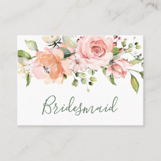Elegant pink apricot roses Wedding Bridesmaid Place Card
