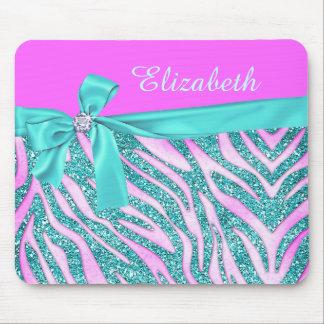 Elegant Pink Aqua Fake Glitter Zebra Bow Monogram Mouse Pad