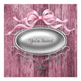 Elegant Pink Barn Wood Party Invitation Template