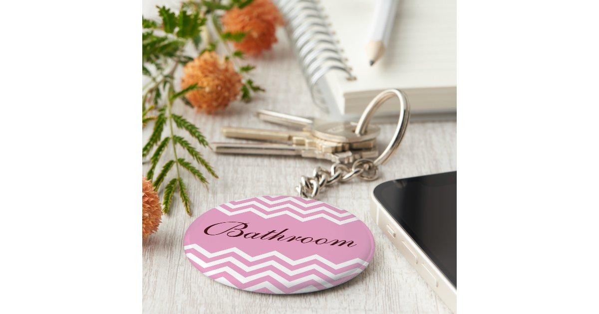 elegant pink bathroom keychain with zigzag pattern zazzlecom