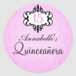 Elegant Pink/Black Chic Damask Quinceañera Sticker