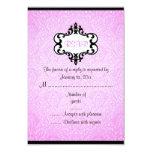 """Elegant Pink & Black Chic Damask RSVP Card 3.5"""" X 5"""" Invitation Card"""
