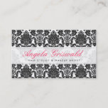 """Elegant Pink &amp; Black Damask Business Cards<br><div class=""""desc"""">Beautifully printed business cards that can be customized with your text.</div>"""