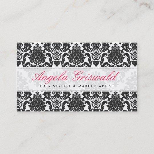 Elegant pink black damask business cards zazzle elegant pink black damask business cards reheart Gallery