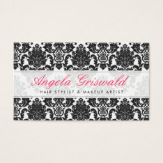 Elegant Pink & Black Damask Business Cards at Zazzle