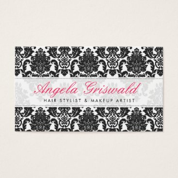 Professional Business Elegant Pink & Black Damask Business Cards