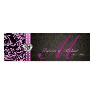 Elegant Pink & Black Damask Favor Tags Double-Sided Mini Business Cards (Pack Of 20)