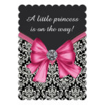 Elegant Pink Black Damask Princess Baby Shower Personalized Invite