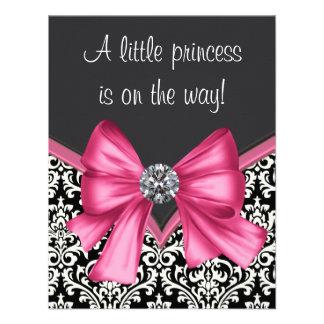 Elegant Pink Black Damask Princess Baby Shower Personalized Invitations