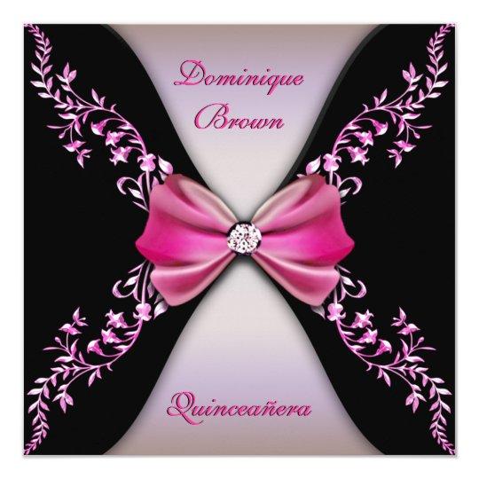 Elegant Pink Black Diamond Bow Quinceanera Card