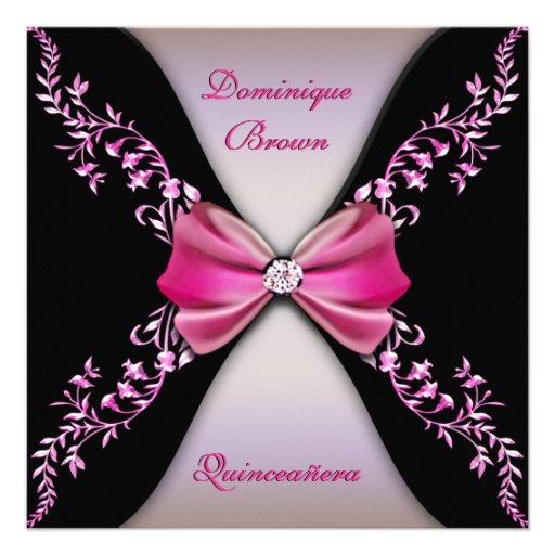 Elegant Pink Black Diamond Bow Quinceanera Personalized Invites