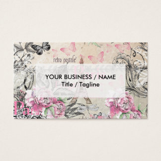 Elegant pink black floral collage Eiffel Tower Business Card