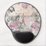 "Elegant pink black floral collage Eiffel Tower Gel Mouse Pad<br><div class=""desc"">Elegant pink black floral collage watercolor and cute vintage butterfly with Paris Eiffel Tower typography design. A boho vintage pastel pink floral collage design on vintage white background</div>"