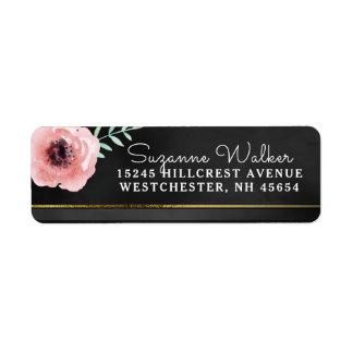 Elegant Pink & Black Floral with Gold Address Label