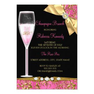 Elegant Pink Black Gold Damask Champagne Brunch Card