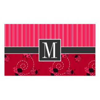 Elegant Pink & Black Ladybug Double-Sided Standard Business Cards (Pack Of 100)