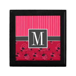 Elegant Pink & Black Ladybug Keepsake Boxes