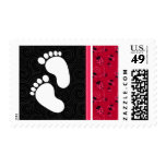 Elegant Pink & Black Ladybug Postage Stamp