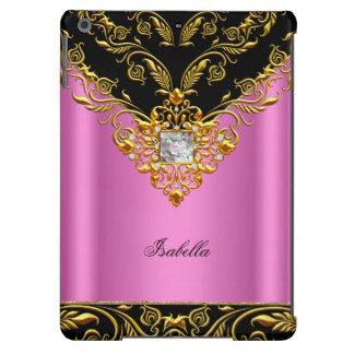 Elegant Pink Black on Gold Monogram add name iPad Air Covers