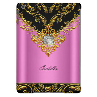 Elegant Pink Black on Gold Monogram add name iPad Air Cover