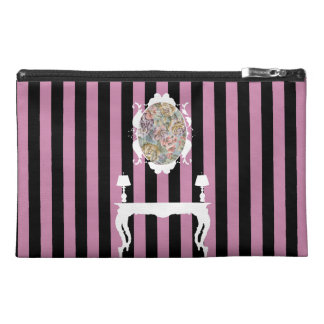 Elegant Pink & Black Stripes Accessory Bag