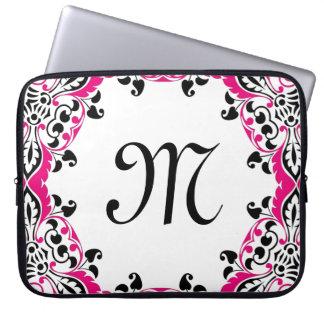 Elegant Pink  Black & White Design with Monogram Laptop Sleeve