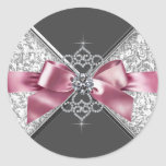 Elegant Pink Black White Diamonds Sticker