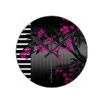 Elegant Pink Blossom Black Asian Bamboo Round Wallclock