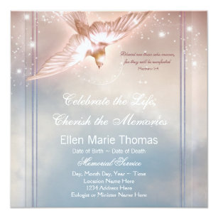 Do it yourself funeral invitations announcements zazzle elegant pink blue dove in loving memory memorial card solutioingenieria Image collections