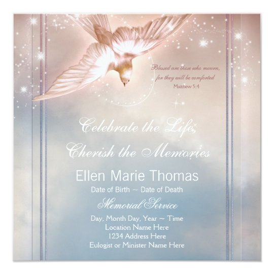 Elegant pink blue dove in loving memory memorial card for In memory cards templates