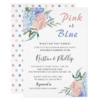Elegant Pink Blue Floral Gender Reveal Baby shower Card