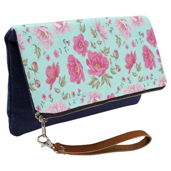 Elegant pink blue vintage floral pattern clutch