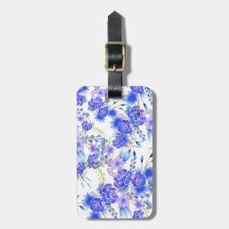 Elegant pink blue watercolor cute flowers pattern luggage tag