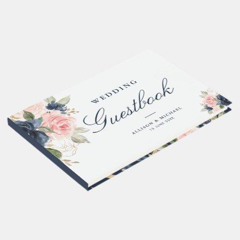 Elegant pink blush & navy floral wedding guestbook