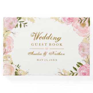 Elegant Pink Botanical Wedding Guest Book