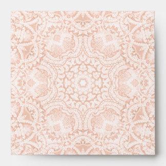 Elegant Pink Bridal Lace Square Envelope
