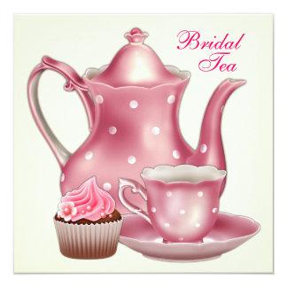 Elegant Pink Bridal Tea Party 5.25x5.25 Square Paper Invitation Card