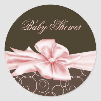 Elegant Pink Brown Bow Baby Shower Stickers