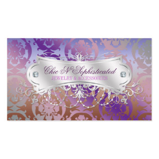 Elegant Pink Brown Purple Damask Swirl Business Card Templates