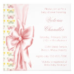 Elegant Pink Butterfly Baby Girl Shower Personalized Invitations