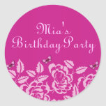 Elegant Pink Butterfly Birthday Envelope Sticker