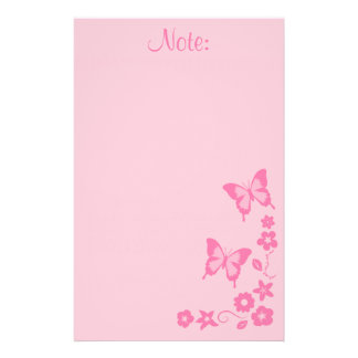 Elegant Pink Butterfly Flowers Girl Stationery