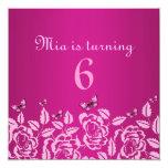Elegant Pink Butterfly Kid's Birthday Invitation