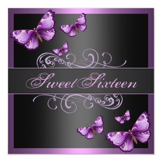 Elegant Pink Butterfly Sweet16 Birthday Invite