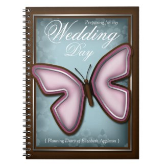 Elegant Pink Butterfly Wedding Planning Diary notebook