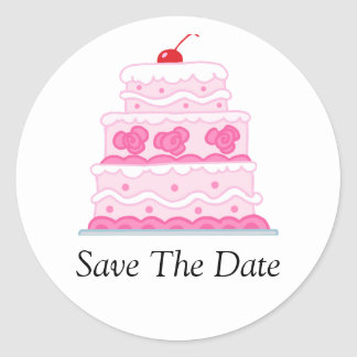 Elegant Pink Cake Classic Round Sticker