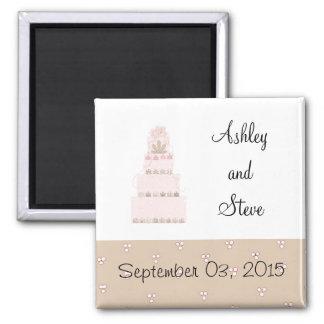 Elegant Pink Cake Save the Date Refrigerator Magnets