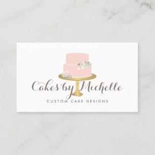 Elegant Pink Cake With Fls Decorating Business Card