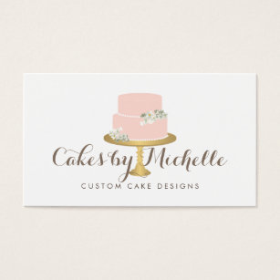 Cake business cards templates zazzle elegant pink cake with florals cake decorating business card reheart Image collections